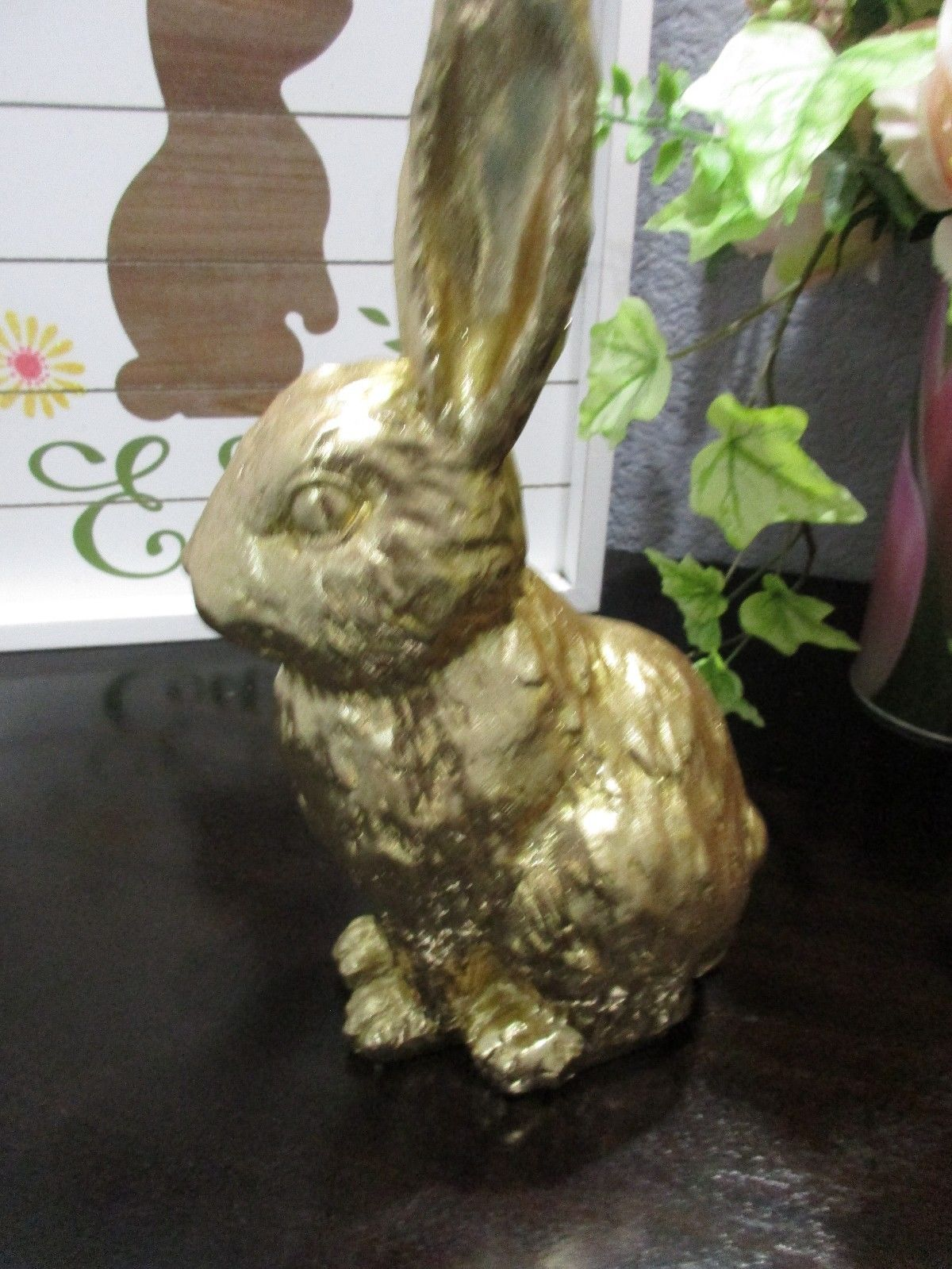 """Easter Spring Gold Bunny Rabbit Statue Figurine Tabletop Decor 8"""" Tall"""