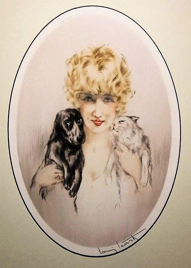 Black poodle dog blonde lady negligee in bed Art Deco 5 x 7 photo print