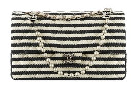 AUTHENTIC Chanel Quilted Jersey Striped Charms Pearl Chain Double Flap Bag  - $3,199.99