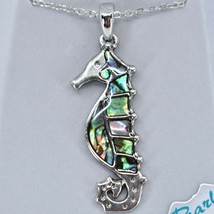Storrs Wild Pearle Abalone Shell Seahorse Pendant w/ Silver Tone Necklace image 2