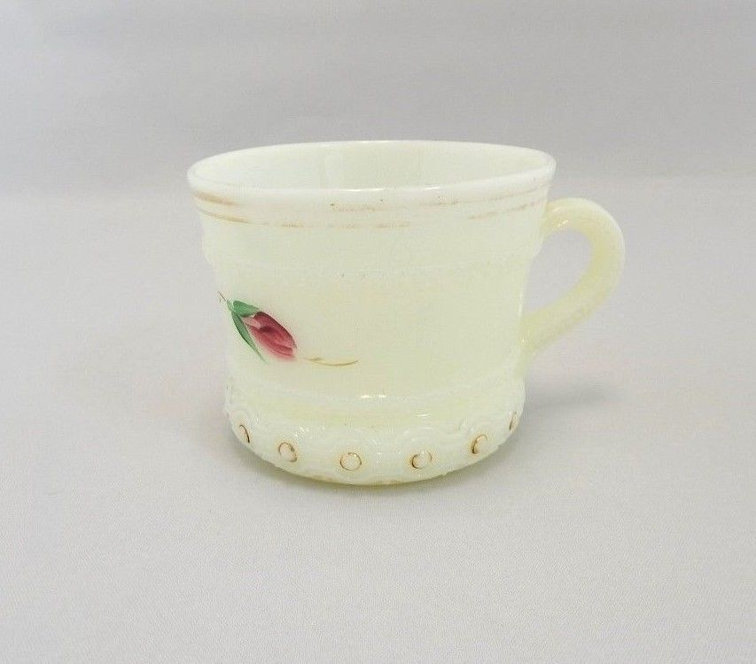 Primary image for Heisey Custard Glass Ring Band Hand-Painted Cup