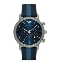 Emporio Armani Men's Chronograph Luigi Silver Tone Blue Band Watch 46mm ... - $91.99