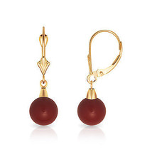 7mm Ball Shaped Dark Red Coral Leverback Dangle Earrings 14K Solid Yellow Gold  - $63.94