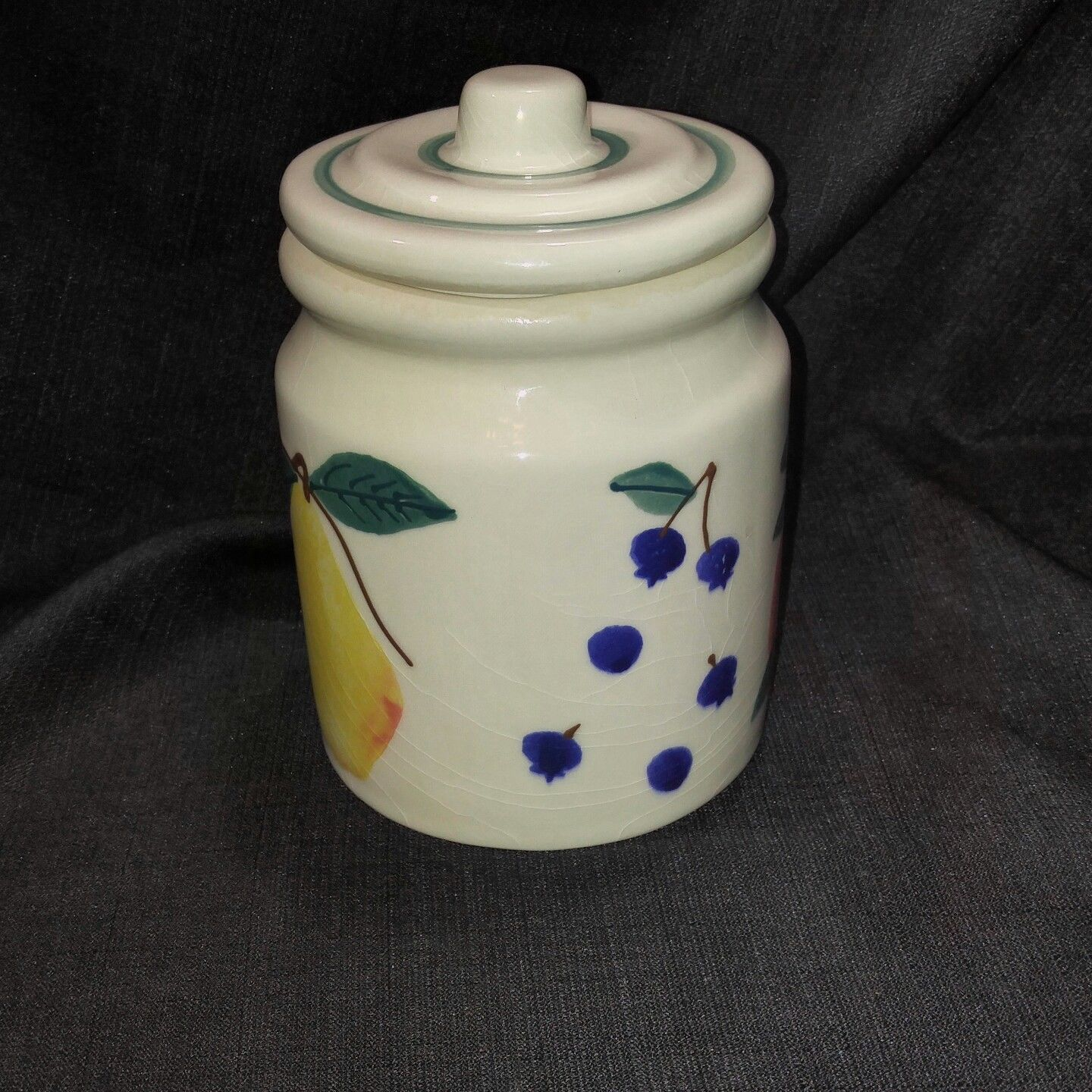 Hartstone USA FRUIT SALAD Small Canister Flat Knob Hand Painted Artist Initialed