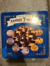 Family 7+ Mancala Game Center 8 Classic Board Games Solid Wood in Tin (Custom Bu - £43.19 GBP