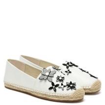Nwb Michael Kors Lola Espadrille Floral Leather Optic White Sz 8.5 - $129.99