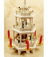3 Tier Christmas Angel Shepherd Nativity Pyramid White Painted Wood Red ... - $148.48