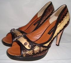 Beverly Feldman Snakeskin Peep Toe Pumps 9 Heels Shoes Jeweled  - $49.95