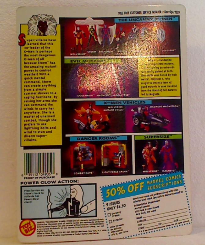 X-Men Storm 1991 Toy Biz Marvel Action Figure 4905 Power Glow Black Costume New