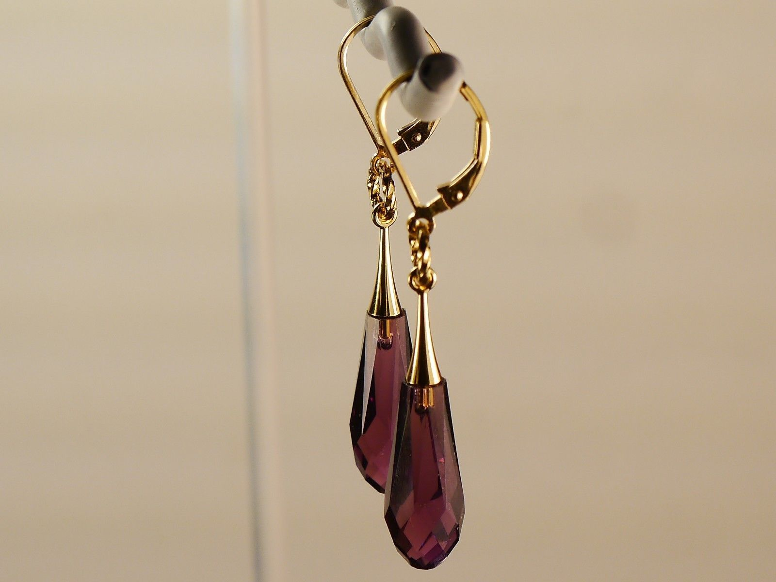 Swarovski Crystal Earrings/Amethyst /made w/Swarovski Elements /14k Gold Filled