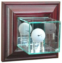 Golf Ball Wall Mounted Glass Display Case with Cherry Frame - $72.00