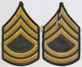 US Army  E-7 Sergeant First Class Gold On Green Emnbroidered Patch Pair Set - $4.00