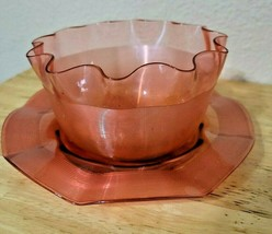 Vintage Fluted Glass Bowl with Matching Saucer Pink - $3.99