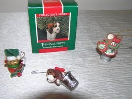 Lot of 3 Hallmark Keepsake & Not Small THIMBLE Puppy Elf & Mouse Christmas Tree  - $13.99