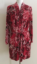 Style & co Textured Scroll Print Microfiber Short Robe 521018 Red Large/XL - $20.90