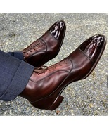 Handmade Ankle High Brown Leather Boots For Men, Men Leather Handmade Boots - $169.99+