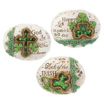 Darice St. Patrick's Day Cement Stone: 4 x 3.5 inches, 3 Assorted Styles - $11.99