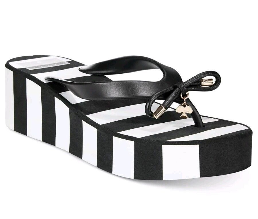 Primary image for New KATE SPADE RHETT Black White Stripe Wedge Thong Flip Flop Sandals Size 8M