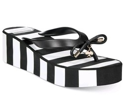 New KATE SPADE RHETT Black White Stripe Wedge Thong Flip Flop Sandals Si... - $38.60
