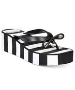New KATE SPADE RHETT Black White Stripe Wedge Thong Flip Flop Sandals Si... - $38.60