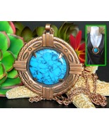Vintage Bell Trading Post Copper Faux Turquoise Pendant Necklace Chain - $22.95