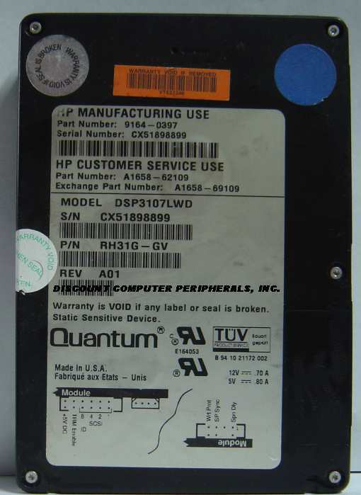 1.07GB 3.5IN SCSI WIDE DIFF 68PIN 9164-0397 DSP3107LWD HP A1658-62109 Free USA S