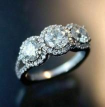 3.20Ct Round Cut White Three Halo Diamond Engagement Ring in 14K White Gold - £202.91 GBP