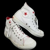 Converse (Product) Red AIDS White Leather High Top Sneakers W8.5 M6.5 EU... - $23.33