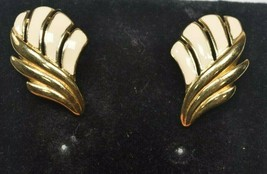 Vintage Trifari Gold Tone & Cream Enamel Feather/Leaf/Wing Pierced Earrings - $15.51