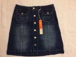 New Ditto Chloe High Waist A Line Denim Skirt Button Front Size 25 - $49.99