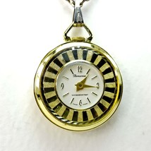 """Vintage Mercona Swiss Made Watch Pendant 24"""" Necklace Chain Gold Tone  - $19.34"""