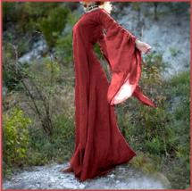 Medieval Wide Long Sleeved Floor Length Red Linen Gothic Chemise Underga... - $78.95