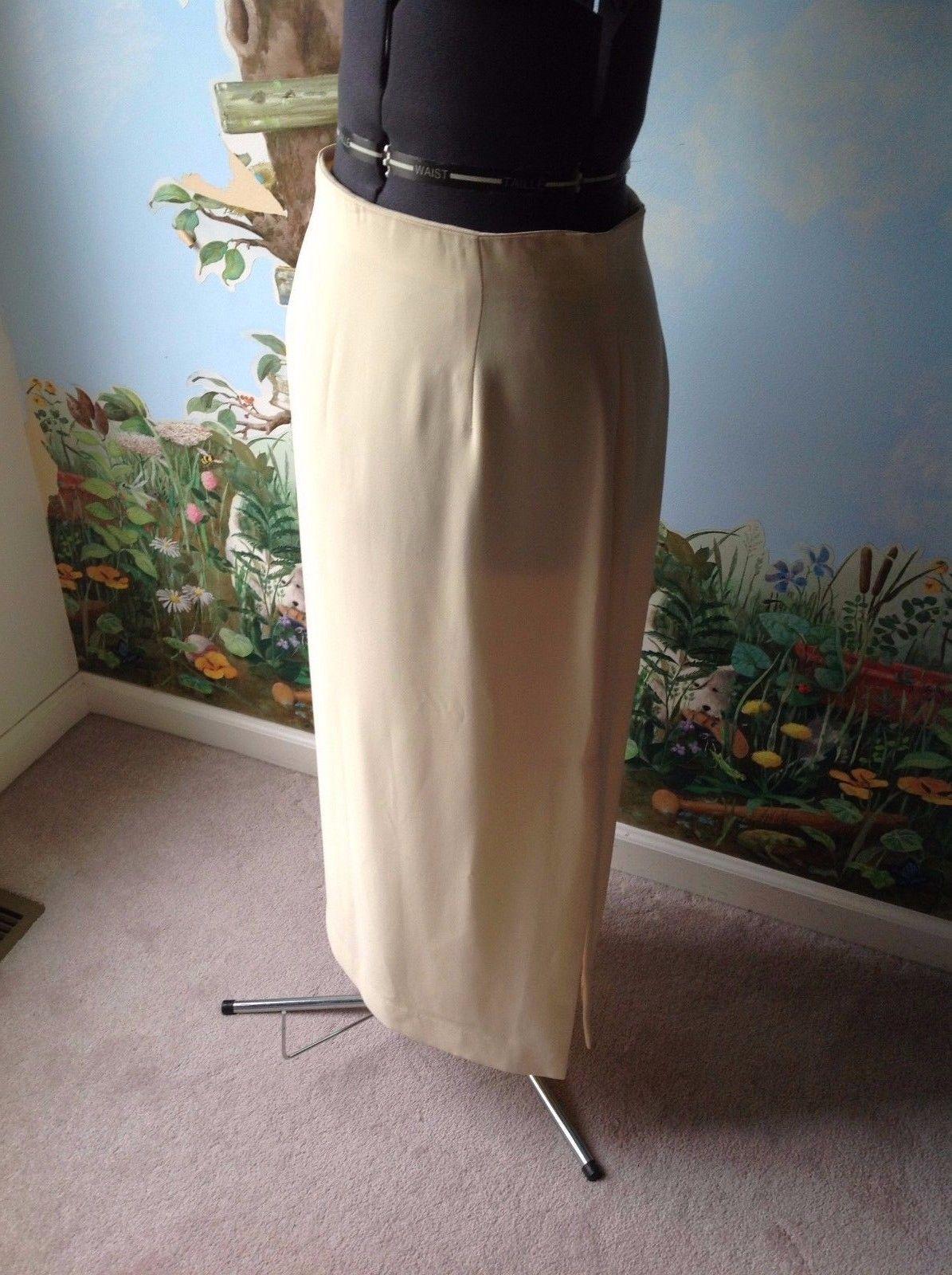 Rena Rowan Women Yellow Lined Back Zipper Side Slit Long Skirt Size 12 New