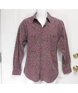 Sz S Shah Safari Mens Multi Color Purple Black Green LS Button Shirt Was... - $7.99