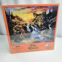 """The Catch 1000 Piece Puzzle Outdoor Fishing Wolf Cabin Water Fall  20"""" x 27"""" - $28.70"""