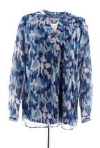 Liz Claiborne NY Printed Tunic Pleats Blue Multi 10 NEW A272815 - $30.67