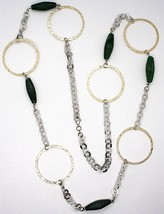 Silver 925 Necklace,Jade Green,Circles Yellow,100 cm, Rolo ' Hammered image 2
