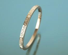 Authentic COACH Logo Rose Metallic Gold Tone Metal Bangle Bracelet - $98.01