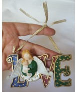 Hanging Angel with wings holding baby Love Sign • pre-owned • Christmas ... - $8.56