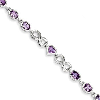 Primary image for Lex & Lu Sterling Silver Oval Heart Amethyst Bracelet 7""
