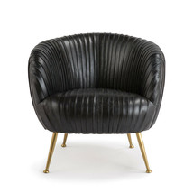 New Modern Pleated Black Beretta Leather Chair Souffle Style Mid Century... - $2,967.56