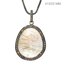 Gemstone Rutile Quartz Pendant 925 Sterling Silver Diamond Pave 14k Gold... - $299.20