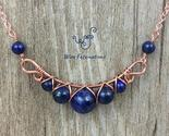 Handmade copper necklace criss cross wire wrapped lapis 1 thumb155 crop