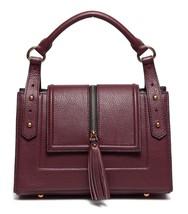 New Tassels Pebbled Italian Leather Top Handle Satchel Handbag Purse 2358 - $149.95