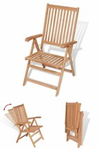 Folding Patio Dining Chairs Wooden Reclining Seats Camping Outdoor Seat ... - $220.97
