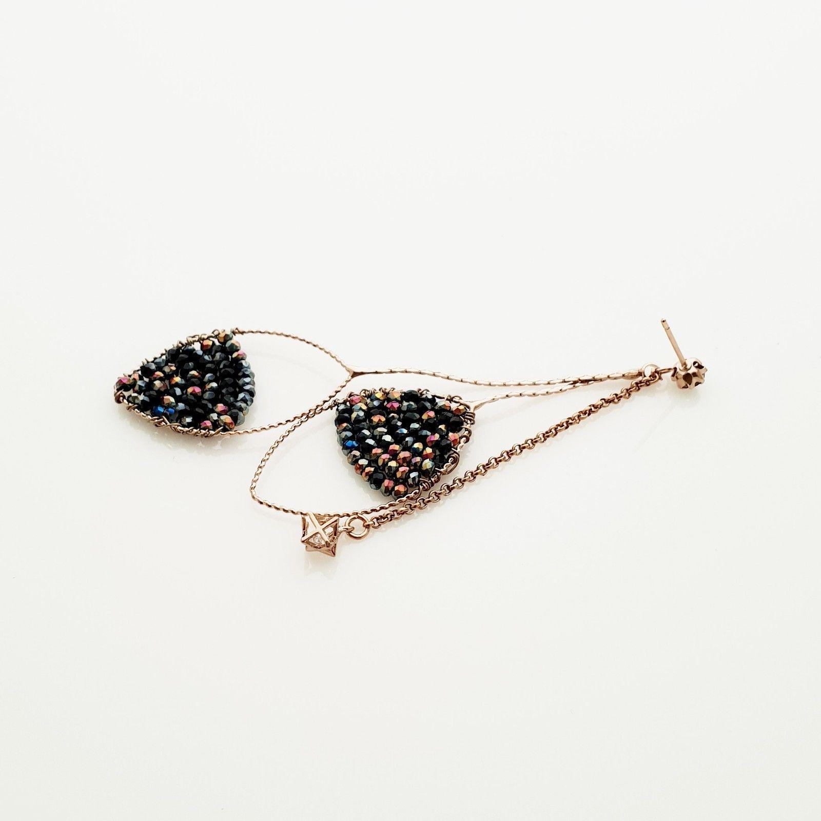 Handmade Oval Ellipse Made With Swarovski Stone Drop Dangle Earrings Brass E201 image 6