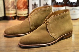 Handmade Men's Tan High Ankle lace Up Chukka Suede Boots image 1