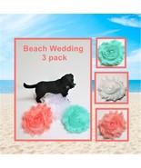 Beach Wedding Flowers for dog collars, Aqua fabric pup charm, Coral Pet ... - $11.00