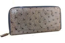 Genuine Ostrich Gray Leather Zip Around Long Wallet Money Purse Card Coi... - $78.21