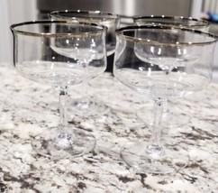 Set Of 4 Lenox Desire Platinum Trim Champagne Sherbet Crystal Glasses - $40.95
